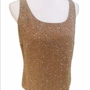 Talbots pure silk sleeveless top beaded sequins